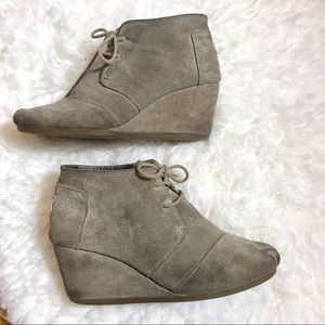 TOMS Suede Wedge Booties, Size 7